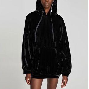 Zara Trafaluc velvet oversized hoodie size medium